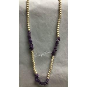 Collier perles et améthystes